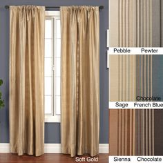 Update your space with this elegant curtain panel featuring tonal stripes in your choice of chocolate, pebble, blue, sage, sienna, gold, or pewter. Each panel measures 53 inches wide by 120 inches long and features a rod pocket for easy hanging.