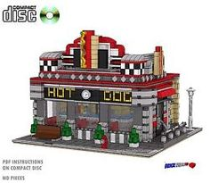 CD Hot Dog Diner Modular, Lego Custom Instructions cafe, city grocer minifigure