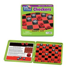 A great magnetic checkers game ready to play anywhere. Includes 12 magnetic checkers of each color stored securely inside game tin for home or travel. 6 x 6 x WARNING: CHOKING HAZARD-- Small Parts. Checkers Board Game, Play Checkers, Board Games, Teacher Supplies, School Supplies, School Supply Store, Inside Games, Games For Toddlers, Ready To Play