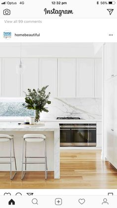 Scene-stealing marble is the hero in this stunning Hamptons-style kitchen, paired perfectly with classic, panelled cabinetry to complete… Home Decor Kitchen, Interior Design Kitchen, Home Kitchens, Style At Home, Estilo Hampton, Contemporary Kitchen Cabinets, Contemporary Kitchens, Kitchen Benches, Design Furniture