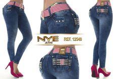 Calça Jeans Colombiana Modela e Levanta BumBum Nye Material: Jeans, Elastano