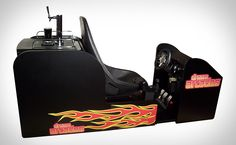 Octane 120 Beer Arcade by Dream Arcade. The Octane 120 Beer Arcade from Dream Arcade is a sit-down arcade racing game with a twist – a beet tap to enjoy your favorite brew! Beer Keg, Beer Taps, Keg Tap, Man Cave Gifts, Man Cave Bar, Arcade Machine, Simulation Games, Inspirational Gifts, Fathers Day Gifts