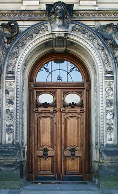 Arched portal, double wooden doors, just beautiful!, Dresden, Germany