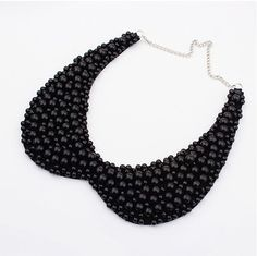 Fashion Sweet Women Fake Collar Necklace Black And White Imitation Pearls Choker Necklace For Women Collier Femme Beaded Choker Necklace, Crystal Choker, Black Necklace, Collar Necklace, Choker Collier, Necklace Hanger, Choker Jewelry, Bead Jewellery, Leather Necklace