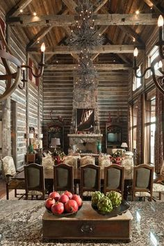 Lake house living room , timbers and barnwood. log home rustic elegant Log Cabin Christmas, Casa Loft, Deco Design, Log Homes, Barn Homes, Home Living Room, Barn Wood, Rustic Decor, Rustic Chic