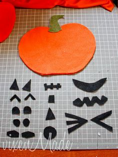 Felt Jack-o-Lantern for the kiddos too young to carve! Made this for my 2 1/2 year old granddaughter and she loves to make her own pumpkin faces. I have a large black sparkly piece of felt that I bought at Michael's to place the large pumpkin on. The felt pieces adhere very well to the pumpkin while making each jack o' lantern face.
