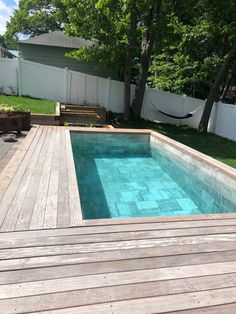 There are so many ways to finish the exterior of your Soake Pool. it doesn't have to be stone! Check out this beautiful wood deck surround. Thanks so much to our North Shore, MA customers for sending us this beautiful shot of their pool! Swimming Pool Landscaping, Small Swimming Pools, Swimming Pool Designs, Lap Pools, Indoor Pools, Landscaping Design, Landscaping Tools, Modern Landscaping, Pools For Small Yards