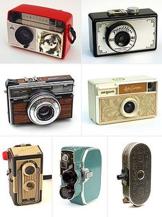 My first camera is the bottom left corner but in black & silver - still have it... Learned to develop film by age 12...