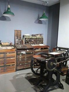 Unite Type's back room features three vintage letterpress machines