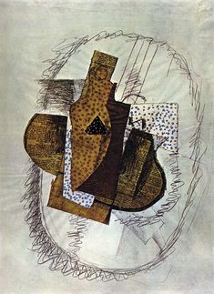 Georges Braque, Still life with Bottle of Bass, 1914 Pablo Picasso, Georges Braque Cubism, Gouache, Collage Drawing, European Paintings, Art Database, Modern Artists, Sculpture, French Art