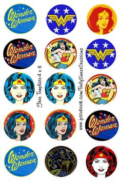 Wonder Woman Vintage: Toppers para Cupcakes para Imprimir Gratis.