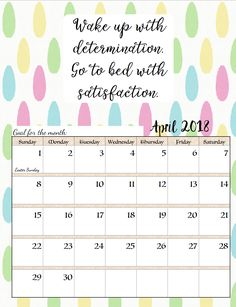 April 2018 Calendar With Motivation Quotes