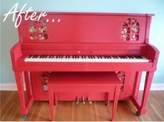 painted piano makeover - Would you paint a piano? What color?  I love this cherry red one!