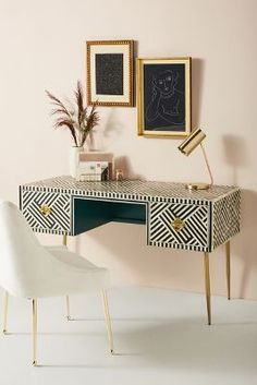 Bone inlay furniture is so stunning we want to surround ourselves with it and stare at it all day.) Here, 24 incredibly beautiful bone inlay furniture pieces to shop right now. Home Office Furniture, Home Office Decor, Furniture Design, Furniture Ideas, Furniture Nyc, Furniture Online, Furniture Outlet, Unique Furniture, Cheap Furniture