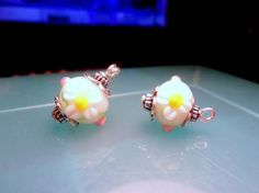 Easter Gift-Flower Dangle Charms-White Glass by CharmedHeartz