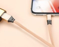 Odolný lightning nabíjací kábel CAFELE, 120cm, textilný v zlatej farbe Ios Apple, Apple Iphone, Apple Watch, Ipad, Cable