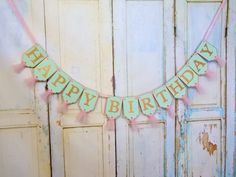 Happy Birthday Banner, Embossed Mint Pink and Gold Banner with Tulle, Girls First Birthday Banner, Birthday Decorations, Girls Birthday Sign by PaperEtcStudio on Etsy
