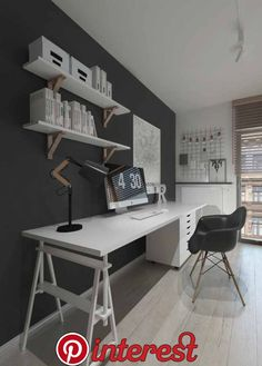 18 Trendy Home Office Quarto Preto Home Office Setup, Home Office Space, Home Office Design, Interior Design Living Room, House Design, Garden Design, Trendy Home, Home Wallpaper, Minimalist Home