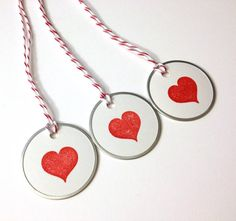 Set of 3 Red Heart Tags by sweetandcraftyshop on Etsy, $2.00