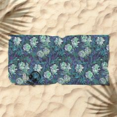 """""""White roses, blue leaves"""" hand drawn floral pattern Beach Towel by Clipso-Callipso 