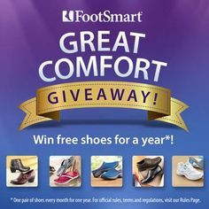 Have a friend who deserves comfortable shoes? Enter our Great Comfort Giveaway and you both could win free shoes for a year!