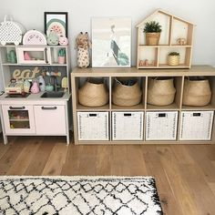 The play room side of our back room is coming together 🙌 We went for the Ikea Kallax unit as the storage is amazing and looks much more organised than our old tray style unit! Ikea Kids Playroom, Toddler Playroom, Playroom Storage, Playroom Design, Tv Storage, Record Storage, Girls Room Storage, Ikea Kids Storage, Living Room Toy Storage