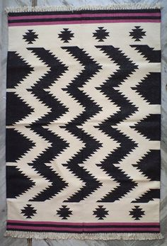 Handwoven Cotton Dhurrie Rug Black White By Panjadhurrie