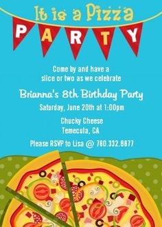 Summer White pizza party invitation pizza birthday party by ...