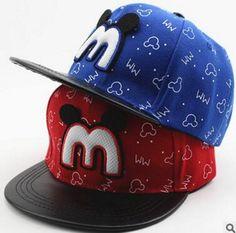 3-8Years 2017 New Spring Cartoon Mickey M PU peak Children Boys Girls Snapback Caps Hip-Hop Baseball Cap Flat Along Hats Outdoor
