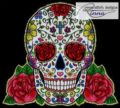 Sugar Skull and Red Roses Cross Stitch Pattern