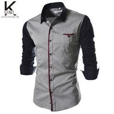 Casual Color Block Button-down Long Sleeves Shirts For Men - Black ...