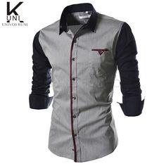 Men's Shirts 2015 New Hot Men Shirt Long Sleeve Fitness Casual Business More Pocket Camisa Hombre Social Patchwork Design FHY512