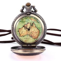 Vintage Copper Bronze Steampunk Australia Map Pendant Craft Flower Case Long Chain Fobs Quartz Pocket Watch Jewelry Gift/ WPK131