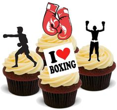 Novelty Boxing Mix Stand Up Edible Cake Toppers Decorations Birthday Boxer Box #BakingBling #BirthdayAdult