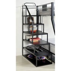 Looking for Furniture America Metal Bunk Bed Side Ladder Bookshelf, Silver Black Finish ? Check out our picks for the Furniture America Metal Bunk Bed Side Ladder Bookshelf, Silver Black Finish from the popular stores - all in one. Staircase Bunk Bed, Bunk Bed Ladder, Ladder Bookshelf, Bunk Beds With Stairs, Cool Bunk Beds, Kids Bunk Beds, Black Bookshelf, Adult Bunk Beds, Staircase Storage