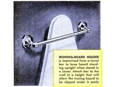 Brace for Boards Ironing Board Holder, Ironing Boards, Iron Holder, Popular Mechanics, Iron Board, Sewing Hacks, Sewing Tips, Sewing Ideas, Sewing Patterns