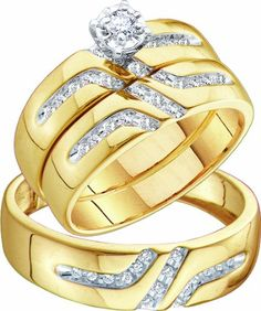 Men's Ladies 10k Yellow and White Gold .28 Ct Round Cut Diamond His Her Engagement Wedding Bridal Ring Set (ladies size 7, men size 10; message us for more sizes)