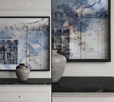 Antiqued framed black mirror