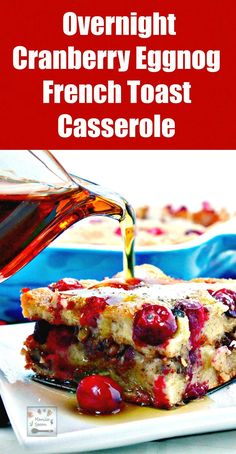 With sweet and creamy eggnog, tangy cranberries and crunchy pecans - this MAKE AHEAD Overnight Cranberry Eggnog French Toast Casserole is the perfect breakfast or brunch dish for Christmas, New Year a Christmas Brunch, Christmas Breakfast, Christmas Pancakes, Christmas Parties, Christmas Morning, Best Breakfast Recipes, Brunch Recipes, Cranberry Breakfast Recipes, Brunch Ideas