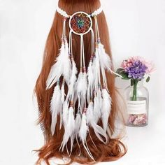 Auctions Starting at $1 on Jewelry, Electronics, Fashion, Home, and More | Tophatter Pagan Decor, Feather Jewelry, Feathered Hairstyles, Types Of Fashion Styles, Style Fashion, Headdress, Hair Band, Boho Chic, Hair Accessories