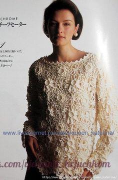 Delicadezas en crochet Gabriela: Suéter de finos motivos