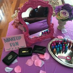 Makeup station for little girl spa party