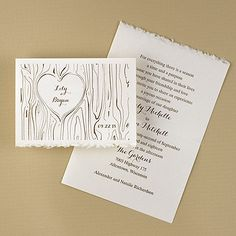 """Fixed Upon My Heart Wedding Invitations for a country or rustic theme wedding features your names in a """"carved """"  heart tree design."""