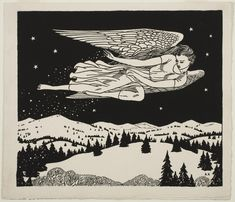 Philadelphia Museum of Art - Collections Object : Untitled (Angel) Rockwell Kent, Art And Illustration, Art Society, Scratchboard, Art Walk, Art For Art Sake, Art Graphique, Angel Art, Woodblock Print