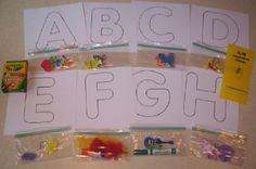 I would love to do the entire alphabet with Gabe this summer.  Great for Tot Trays!  All in one bag!