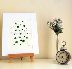 Green Drops 2 - Original Abstract Ink Painting - NOT A PRINT