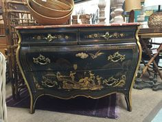 Fantastic Vintage Chinoiserie Bombay French Style Dresser Stone Marble Top…