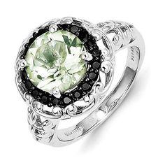 Sterling Silver Green Quartz and Black Diamond Ring