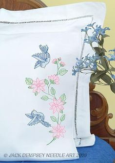 Birds Perle Edge Pillowcases #embroidery #embroiderybyhand #JDNA #birds