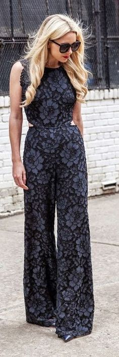 Open Back Black Lace Jumpsuit with Inspiration | S...